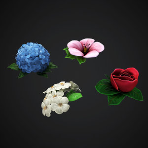 3D 4 flowers rose jasmin