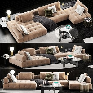 3D minotti lawrence clan sofa