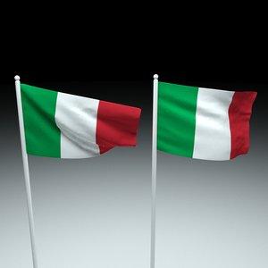 3D flag italy model