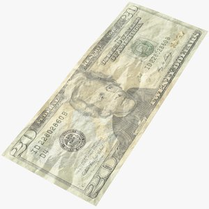 3D model dollar bill crumpled
