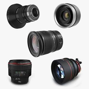 camera lenses 3 lens 3D model