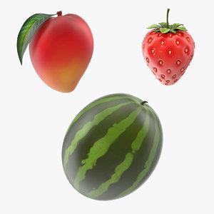 3D model cartoon fruits