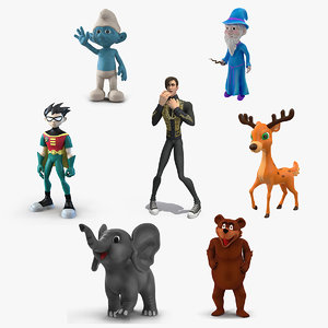 cartoon rigged characters 4 3D model
