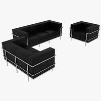 Le Corbusier Sofas and Chair LC2 Set Black