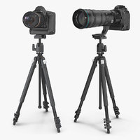 DSLR Cameras with Zoom on Tripod Collection