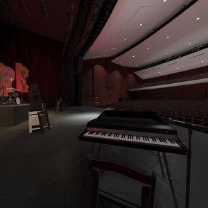 3D model concert hall instruments microphones