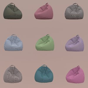 3D soft beanbags colored