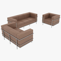Le Corbusier Sofas and Chair LC2 Set Beige