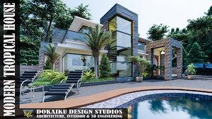 modern tropical house design model