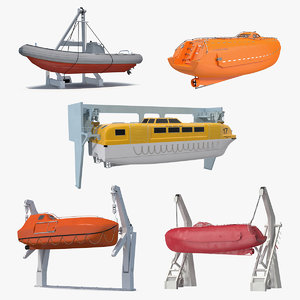 3D lifeboats 2 boat life model