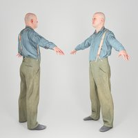 Bald man in shirt and pants with suspenders 182