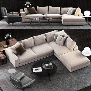 3D model minotti hamilton sofa