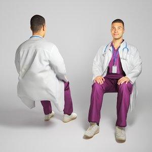 3D young uniform doctor