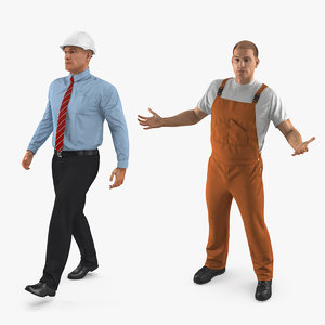 rigged construction engineer worker 3D model