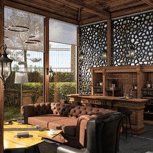 3D garden house interior model