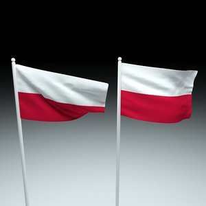flag poland 3D model