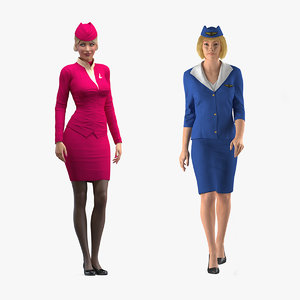 rigged stewardesses 3D model
