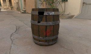 3D model wooden barrel mossy
