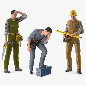 3D model rigged workers works