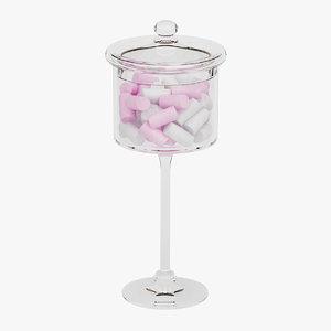 candy jar marshmallows 01 3D model
