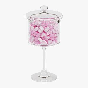 3D candy jar marshmallows model