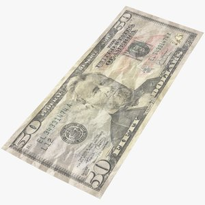 fifty dollar bill 3D model