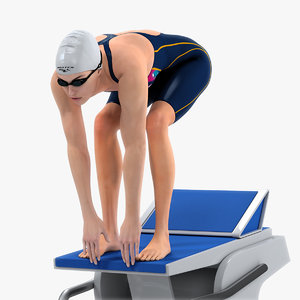 3D animations female swimmer swimming model