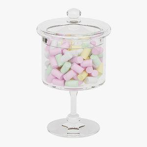 3D candy jar marshmallows