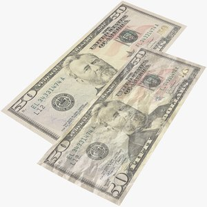 fifty dollar bill 3D model