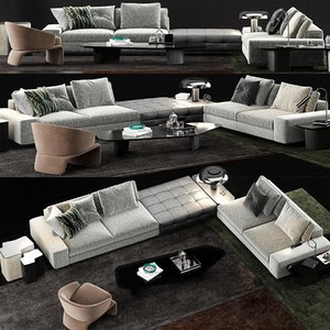 3D minotti lawrence sofa model