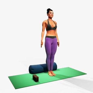 yoga tadasana 3D model