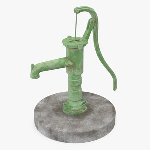 old hand water pump 3D