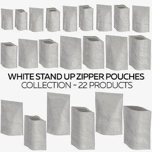 white stand zipper pouches model