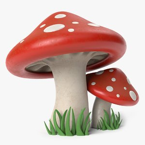 3D cartoon toadstool mushrooms