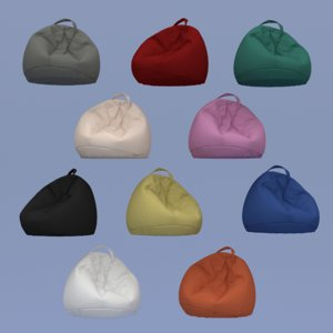 3D model soft beanbags colored