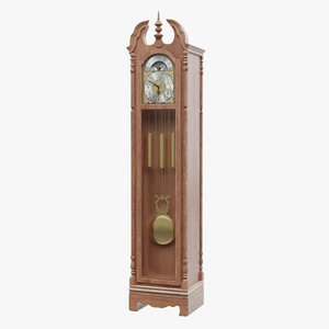 antique grandfather clock 3D