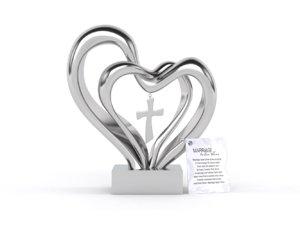 3D double heart wedding cross