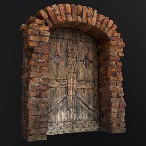 3D old door medieval model