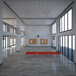 3D school entrance hall