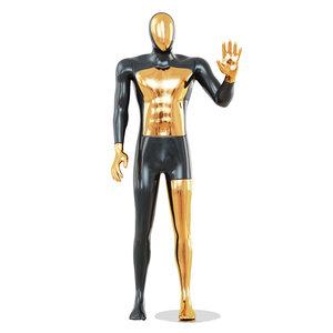 3D faceless male mannequin gold