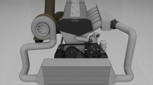 mercedes engine 3D