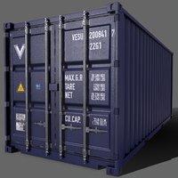 PBR 20 ft Shipping Cargo Container Version 2 Blue Dark