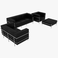Le Corbusier Sofas Chair and Puff LC2 Set Black