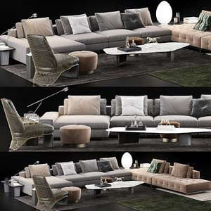 3D minotti lawrence sofa model