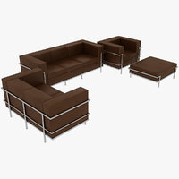 Le Corbusier Sofas Chair and Puff LC2 Set Brown