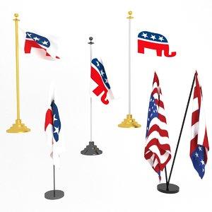 3D republican party flag model