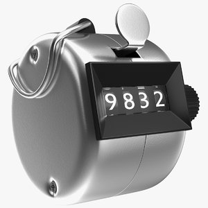 mechanical handheld tally counter 3D model