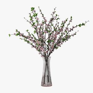 plum branches vase 3D model