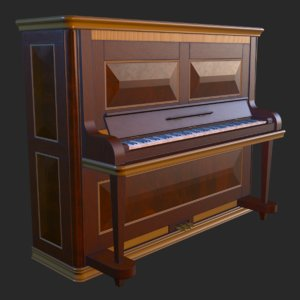vintage furniture piano pbr 3D model