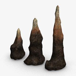 3D model set stalagmites -
